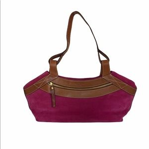 Kate Spade Pink Suede and Tan Leather Shoulder Bag
